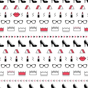 Patrón de moda con zapatos de tacón alto, lápiz labial en estilo memphis.