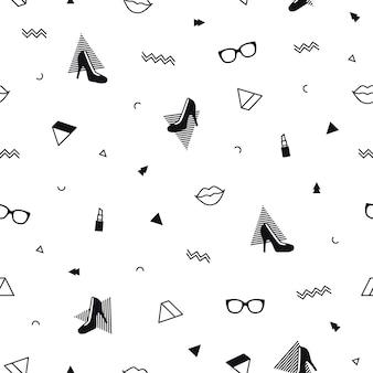 Patrón de moda con zapatos de tacón alto, lápiz labial y formas geométricas en estilo memphis.