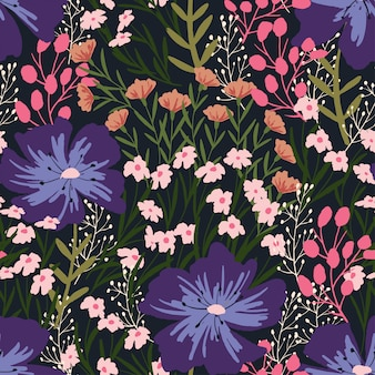 Patrón moderno sin fisuras con flores silvestres.