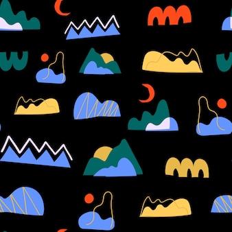 Patrón moderno sin fisuras con varias formas abstractas y objetos de doodle. diseño contemporáneo de moda