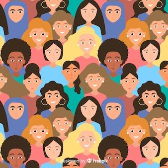 Patrón moderno con grupo internacional de mujeres