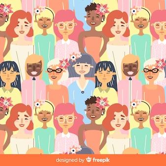 Patrón moderno de mujeres de dieferentes nacionalidades
