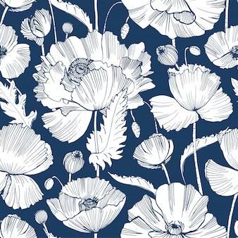 Patrón monocromo con hermosas flores florecientes de amapola, hojas y cabezas de semillas dibujadas a mano con líneas de contorno sobre fondo azul.