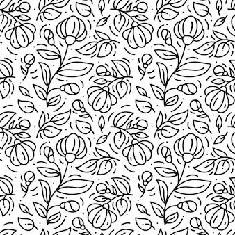 Patron monoline floral dibujado a mano