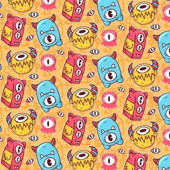 Patrón de monstruos de colores