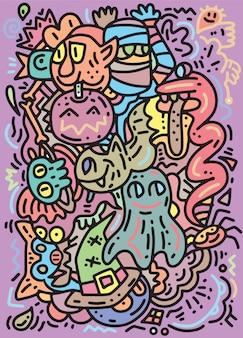 Patrón de monstruos divertidos para colorear libro. fondo blanco y negro