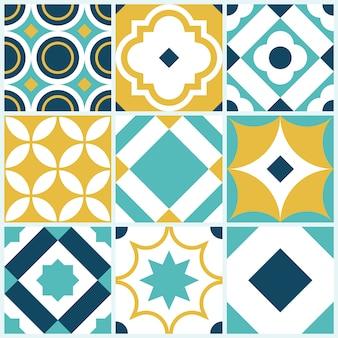 Patrón de mosaico decorativo con formas geométricas