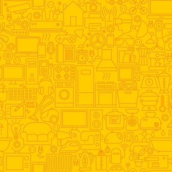 Patrón de mosaico de línea de electrodomésticos. ilustración de vector de fondo de contorno.