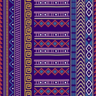 Patrón de motivos tribales sin costuras en color morado.