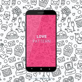 Patrón móvil amor dibujado a mano