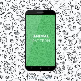 Patrón móvil animal dibujado a mano