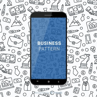 Patron móvil de negocios dibujados a mano