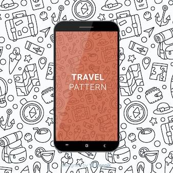 Patrón móvil de viaje dibujado a mano