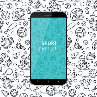 Patrón móvil deporte dibujado a mano