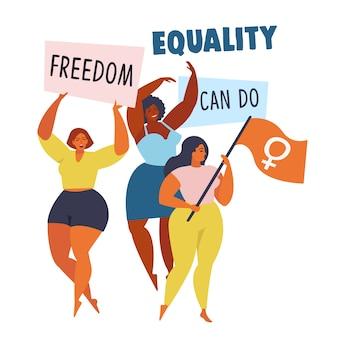 Patrón de movimiento de empoderamiento de las mujeres.