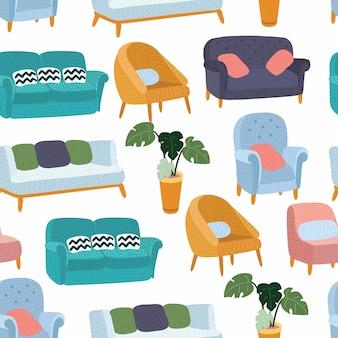 Patrón de muebles de casa sin costuras, hogar de fondo, decoración de objetos, sofá, sillón e interior, ilustración sobre fondo blanco +