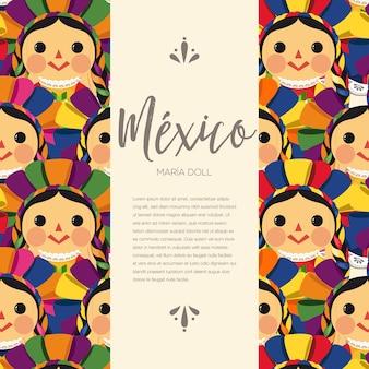 Patrón de muñeca maría tradicional mexicana