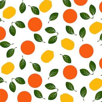 Patrón de naranjas y limones.
