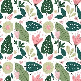 Patrón de naturaleza con flores y hojas
