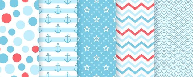 Patrón náutico sin costuras. patrones marinos con ancla, rayas, estrellas, olas.