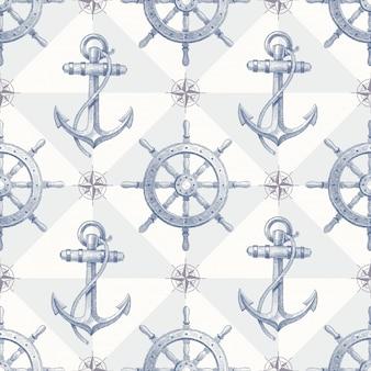 Patrón náutico sin fisuras con elementos dibujados a mano: volante y ancla del barco