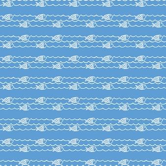 Patrón náutico, peces sobre olas. fondo de verano. ilustración de estilo elegante y de lujo.