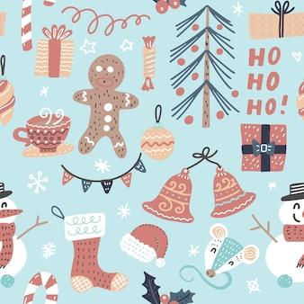 Patrón de navidad de dibujos animados sin costuras