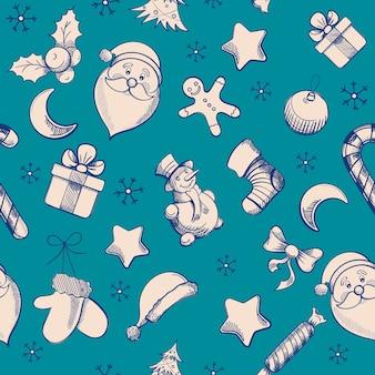 Patrón de navidad con elementos de dibujo a mano