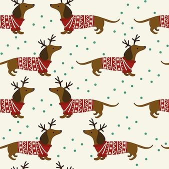 Patrón de navidad sin fisuras con dachshund y copos de nieve sobre fondo blanco.