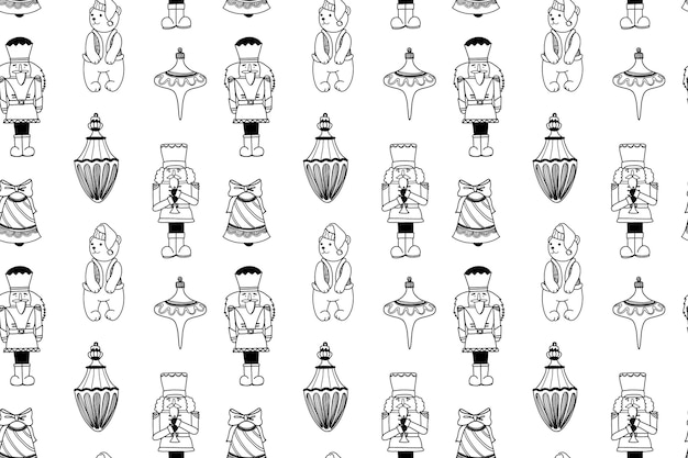 Patrón de navidad sin fisuras con juguetes cascanueces y elementos de vacaciones fondo de doodle de invierno