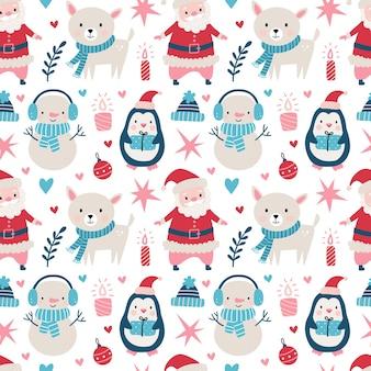 Patrón de navidad sin fisuras con santa claus, ciervos, árbol, decoración, copos de nieve, pingüino, muñeco de nieve