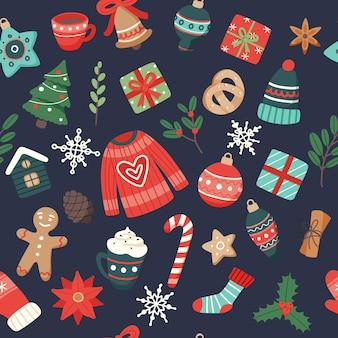 Patrón de navidad lindos elementos estacionales