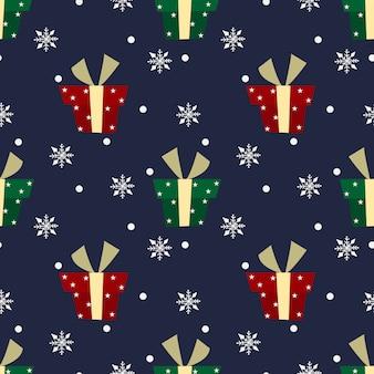 Patrón de navidad con nieve y regalos
