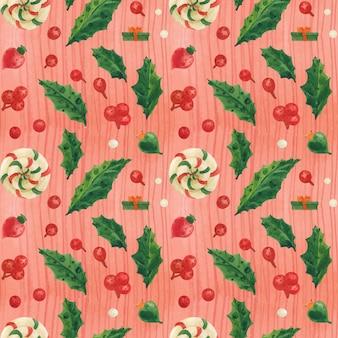 Patrón de navidad roja con piruletas y adornos de vidrio, acuarela trazada