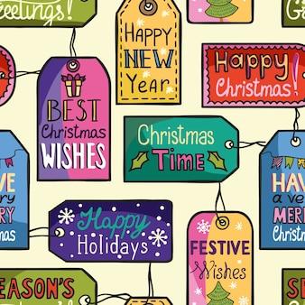 Patrón de navidad transparente colorido con etiquetas.