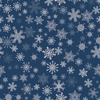 Patrón de navidad transparente negro con diferentes copos de nieve