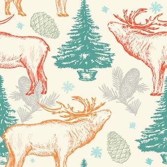 Patrón navideño con ciervos.