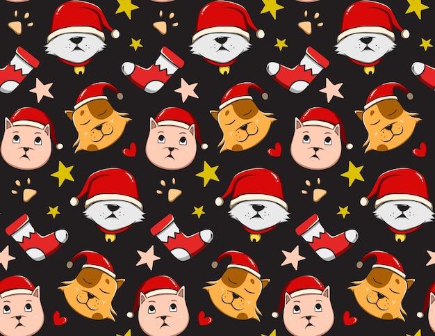 Patrón navideño con gatos