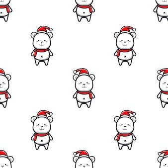 Patrón navideño con osos polares