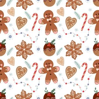 Patrón navideño con pan de jengibre y dulces.