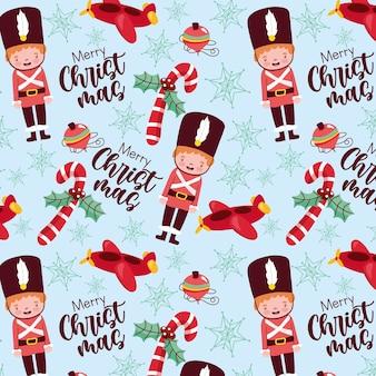 Patrón navideño transparente con elementos navideños y soldado de hojalata