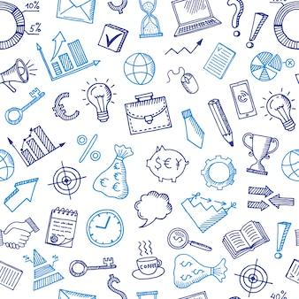 Patrón de negocios con iconos de doodle