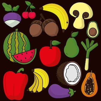 Patrón negro con frutas y verduras de colores