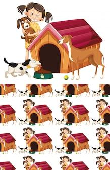 Patrón de niña y perros