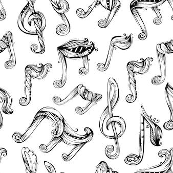 Patrón de notas musicales dibujadas a mano en blanco y negro.