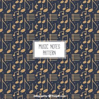 Patrón de notas musicales vintage