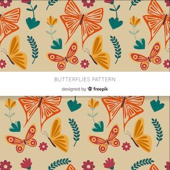 Patrón nube de mariposas volando