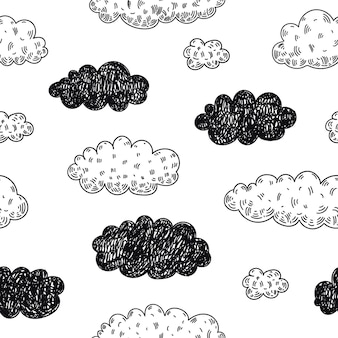 Patrón de nubes de doodle transparente. previsión meteorológica, fondo de día lluvioso. bosquejo, estilo infantil lindo.
