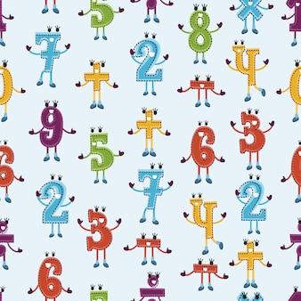 Patrón con números sonrientes