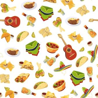 Patrón o ilustración de comida mexicana de dibujos animados